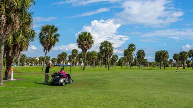 A view of a tee at Mallards Landing Golf Course.