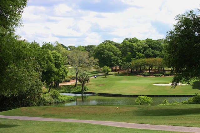 A view of a tee at Rocky Bayou Country Club.