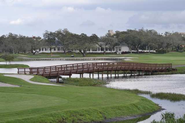 A view over a bridge at Grande Oaks Golf Club.