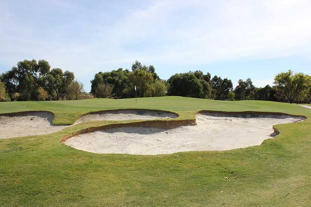 View of a bunkered green at Dunsborough Lakes Golf Club