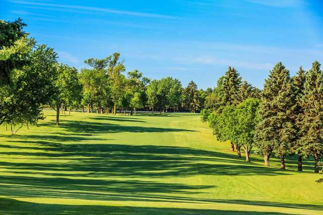 A sunny day view from a fairway at Brookings Country Club.