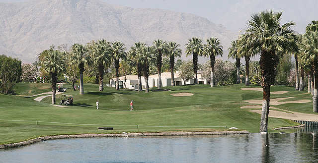 You'll want to avoid the water at the par-4 third at the Palm Course at JW Marriott Desert Springs Resort and Spa.