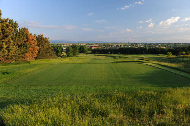 An early fall day view of a tee at Coal Creek Golf Course.