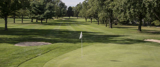 Looking back from a green at Edgewood Golf and Event Center