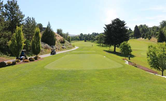 A view of a tee at Crane Creek Country Club.