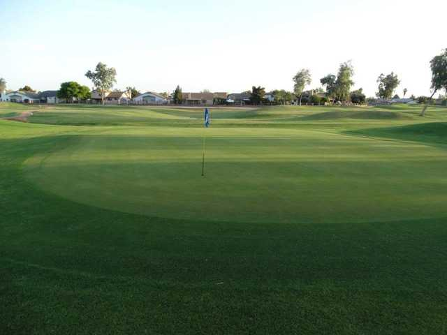 A view of a green at Desert Mirage Golf Course.