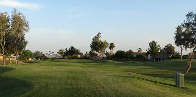 A view from a tee at Desert Mirage Golf Course.