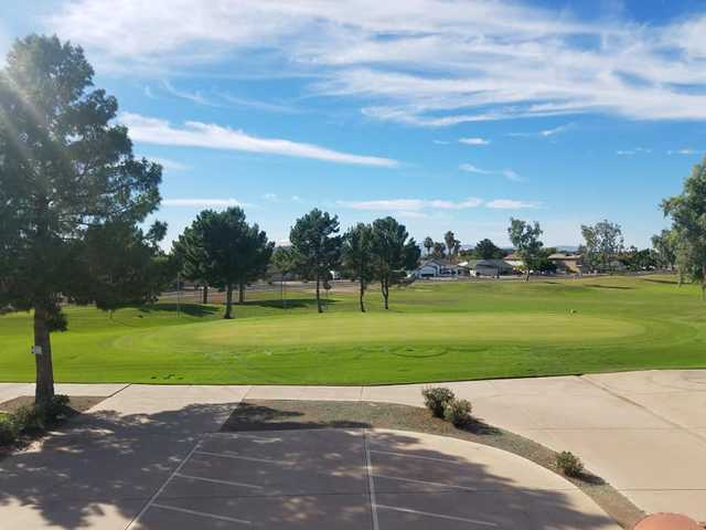 A sunny day view from Desert Mirage Golf Course.