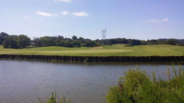 A view over the water of a hole at Egwani Farms Golf Course.
