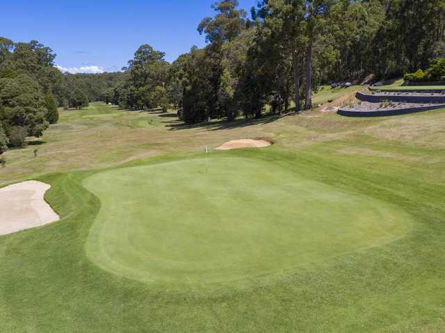 Looking back from the 18th green at Ulverstone Golf Club.
