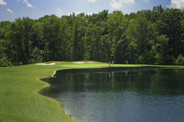 A view of the 3rd green at Belmont Lake Golf Club.