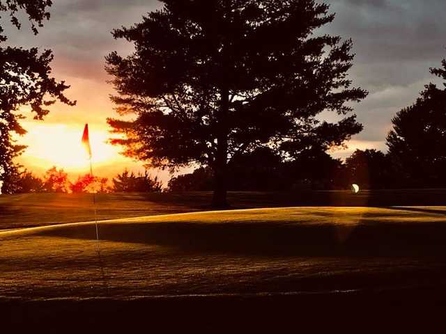 A sunset view of hole #9 at Shelbina Lakeside Golf Course.