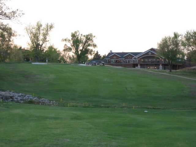 A view of fairway #18 and the clubhouse at Westwood Hills Country Club.