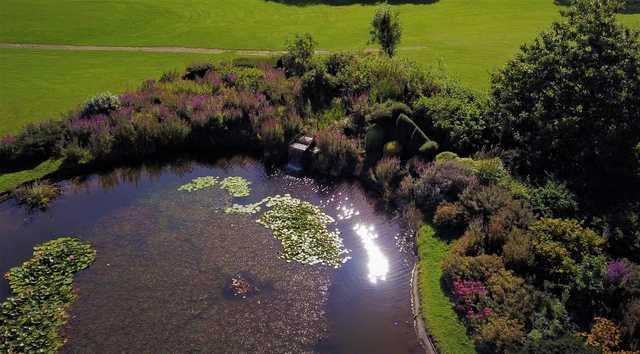 Half lake waterfall at Cottrell Park Golf Club