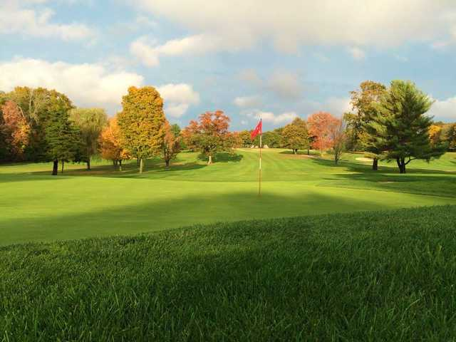 A fall day view of a hole at Rock Ridge Country Club.