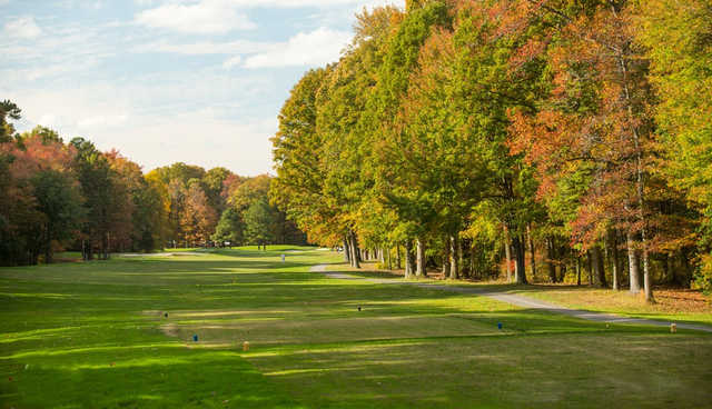 A view of tee #14 from Eighteen Hole at Hog Neck Golf Course.