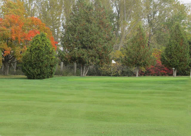 A fall day view of a green at Beaverton Golf Course.
