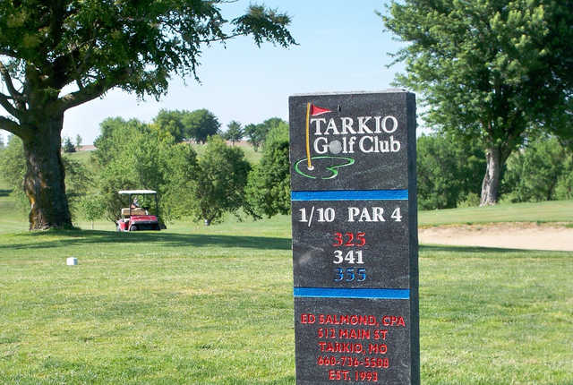 A view of the 1st tee at Tarkio Golf Club.