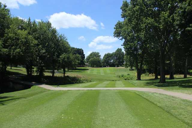 A sunny day view from a tee at Sedalia Country Club.