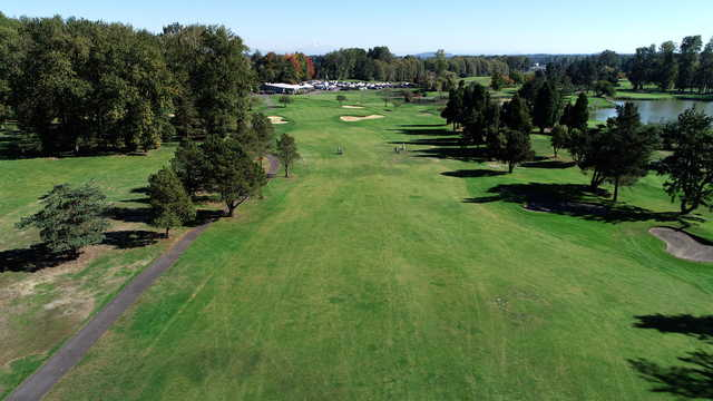 Aerial view of the 18th green from the Greenback Course at Heron Lakes Golf Club