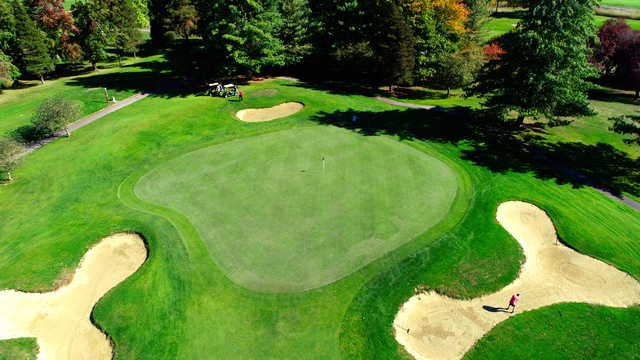 Aerila view of the 12th green from the Greenback Course at Heron Lakes Golf Club
