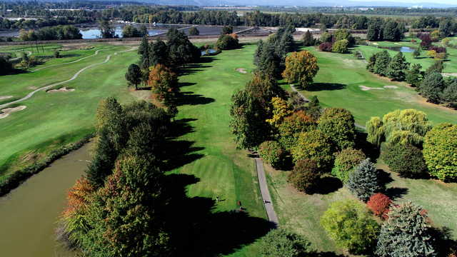 Aerial view of the 11th tee from the Greenback Course at Heron Lakes Golf Club