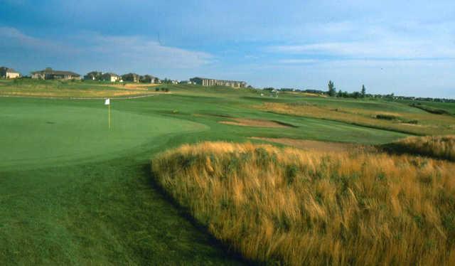 A view of a green at Prairie Green Golf Course.