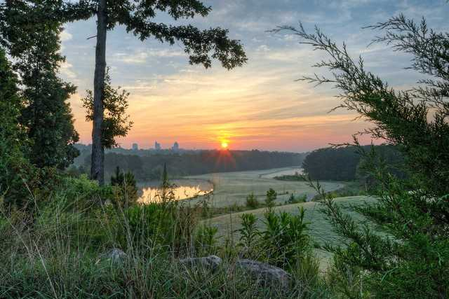 A sunset view from Lonnie Poole Golf Course at North Carolina State University.
