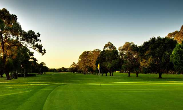 A sunset view of a hole at Bankstown Golf Club.