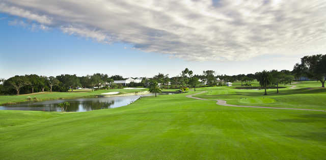 A view from the 10th fairway with the 18th hole on the far left side at Plantation Golf & Country Club Bobcat course