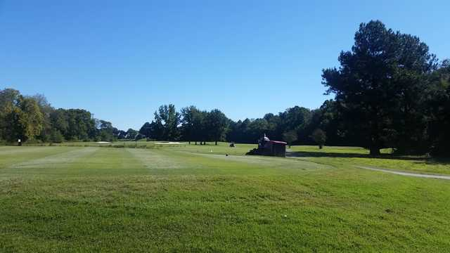 A view of a tee at Timber Truss Golf Course.