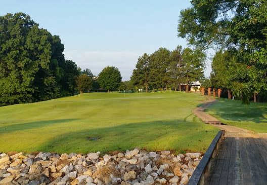 A view of the 18th fairway at Timber Truss Golf Course.
