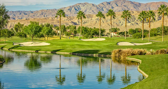 A view of a well protected hole at Shadow Hills Golf Club.