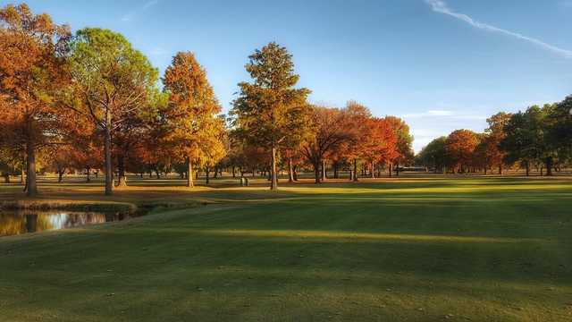 A fall day view from a fairway at Shady Valley Golf Club.