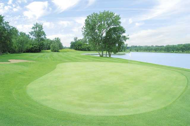 A view of a green situated near the lake at Shoreline Golf Course.
