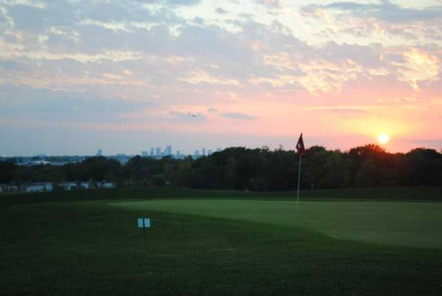 A sunset view of a hole at City View Golf Center.