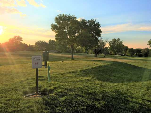 A sunset view of tee #1 at Southglenn Country Club.