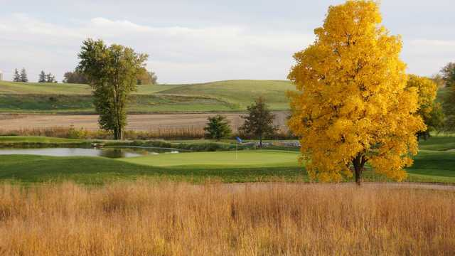 A fall day view of a hole at Stone Creek Golf Club.
