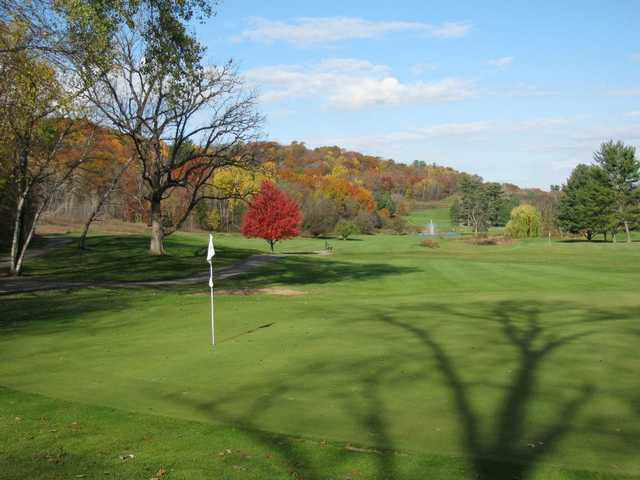 A fall day view of a green at The House on the Rock Resort and Golf Club.