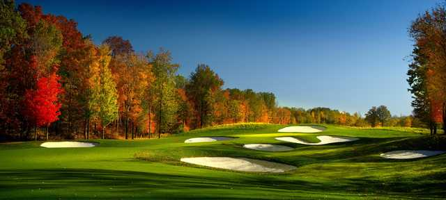 A splendid fall day view of a green at StoneWater Golf Club.