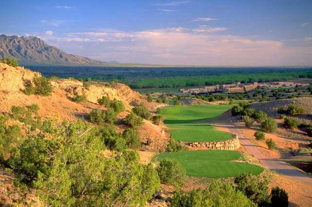 A view of a tee at Twin Warriors Golf Club.