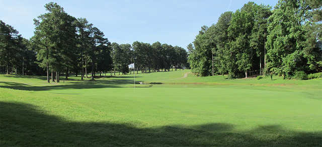 A sunny day view of a green at Wildwood Green Golf Club.