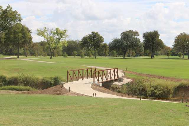 A view of a tee at Willow Springs Golf Course.