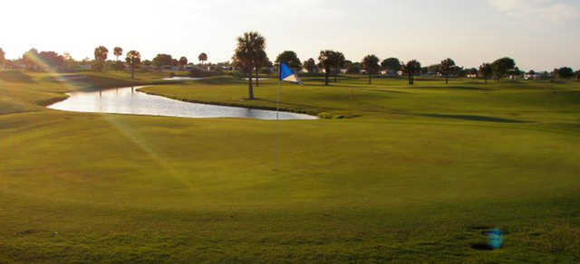A sunny day view of a hole at Barefoot Bay Golf & Recreation Park.