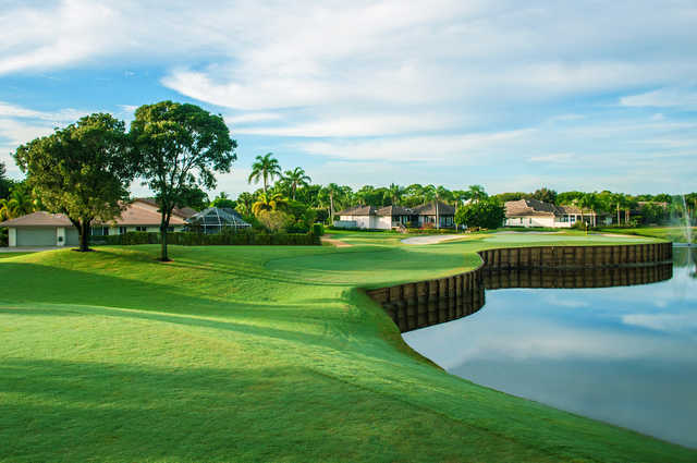 A view of a hole with water and bunkers coming into play at Seagate Country Club.