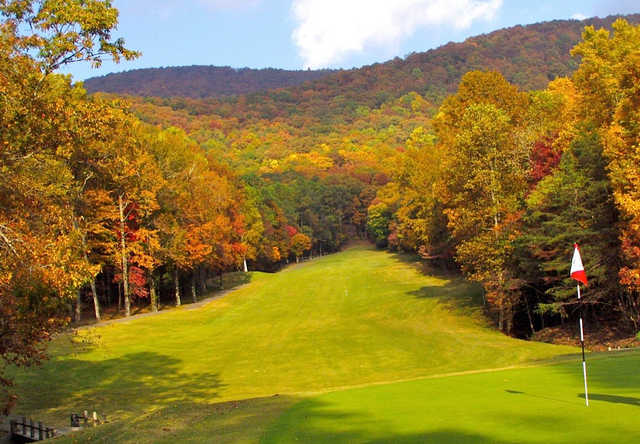 A fall day view of a fairway at Bent Tree Country Club.