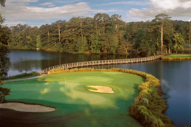 A view of a hole with water and bunkers coming into play from Lake View at Callaway Gardens Resort.