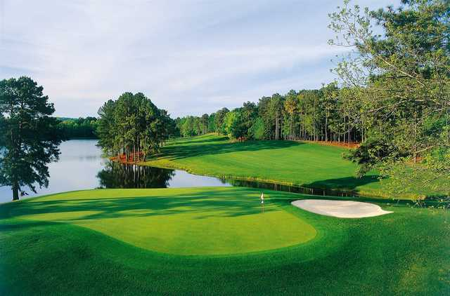 A sunny day view of a green from Mountain View at Callaway Gardens Resort.