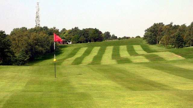 Looking back from the 1st green at Werneth Low Golf Club.