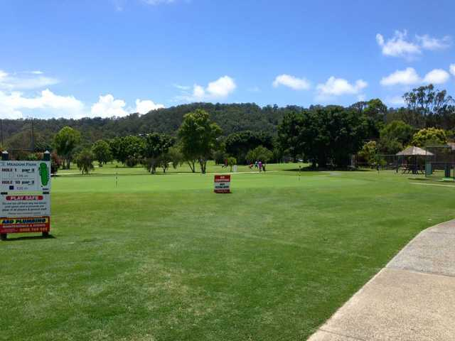 A view from the putting green at Meadow Park Golf Course